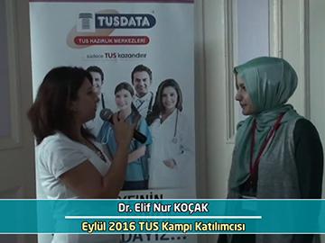 Dr. Elif Nur Koçak - Eylül 2016 İstanbul TUS Kampı Röportajları